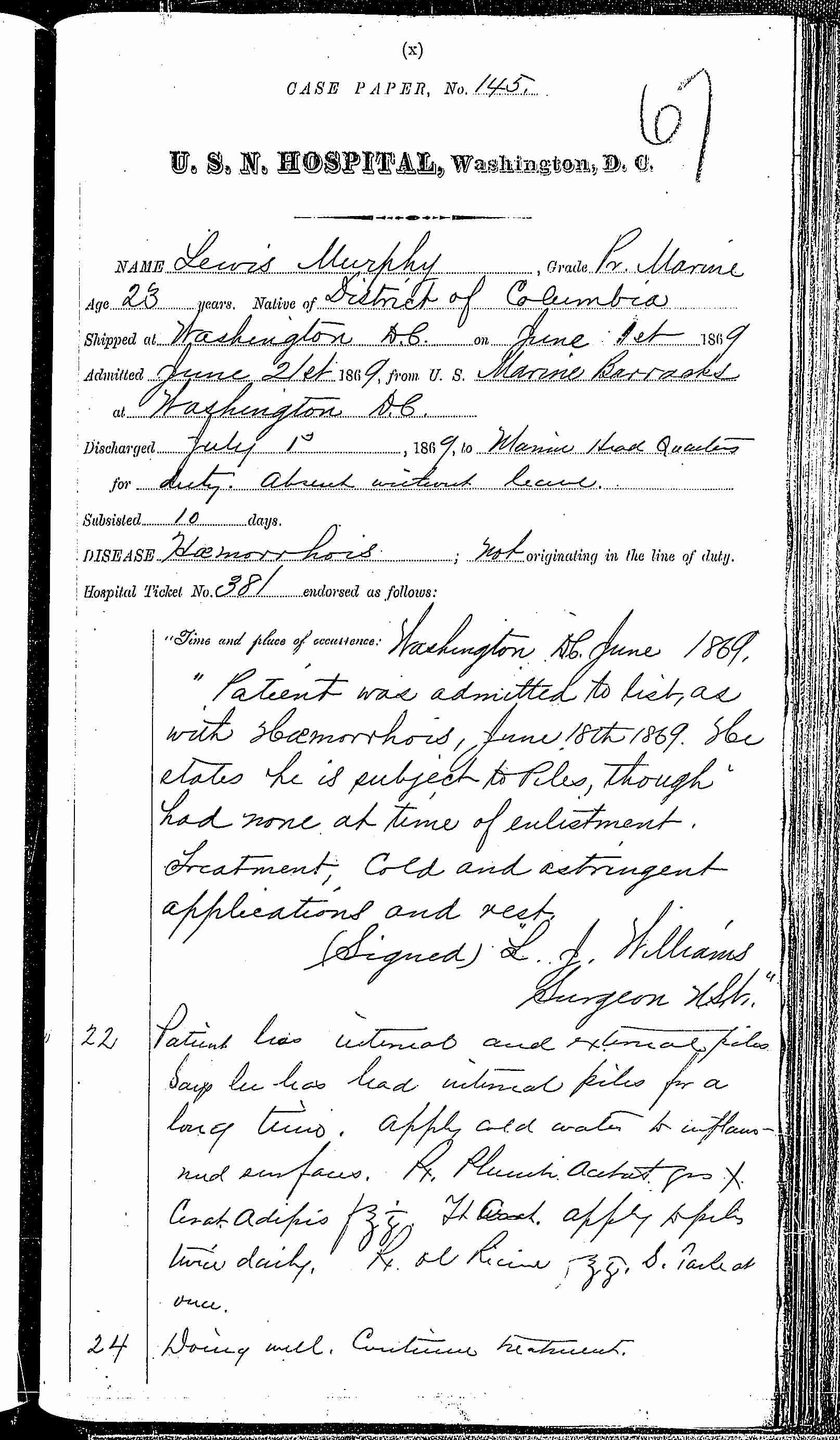 Entry for Lewis Murphy (page 1 of 2) in the log Hospital Tickets and Case Papers - Naval Hospital - Washington, D.C. - 1868-69