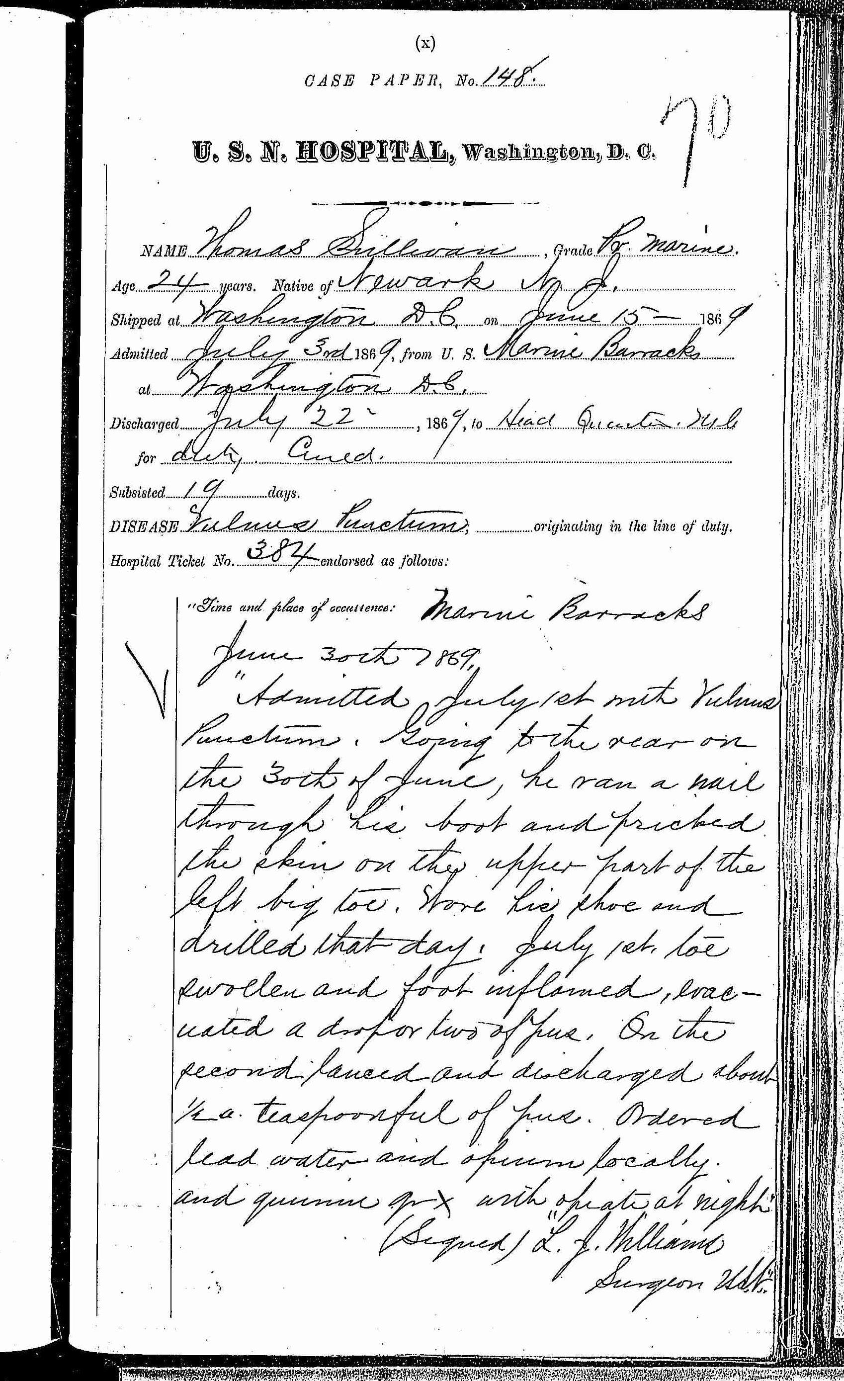Entry for Thomas Sullivan (page 1 of 2) in the log Hospital Tickets and Case Papers - Naval Hospital - Washington, D.C. - 1868-69