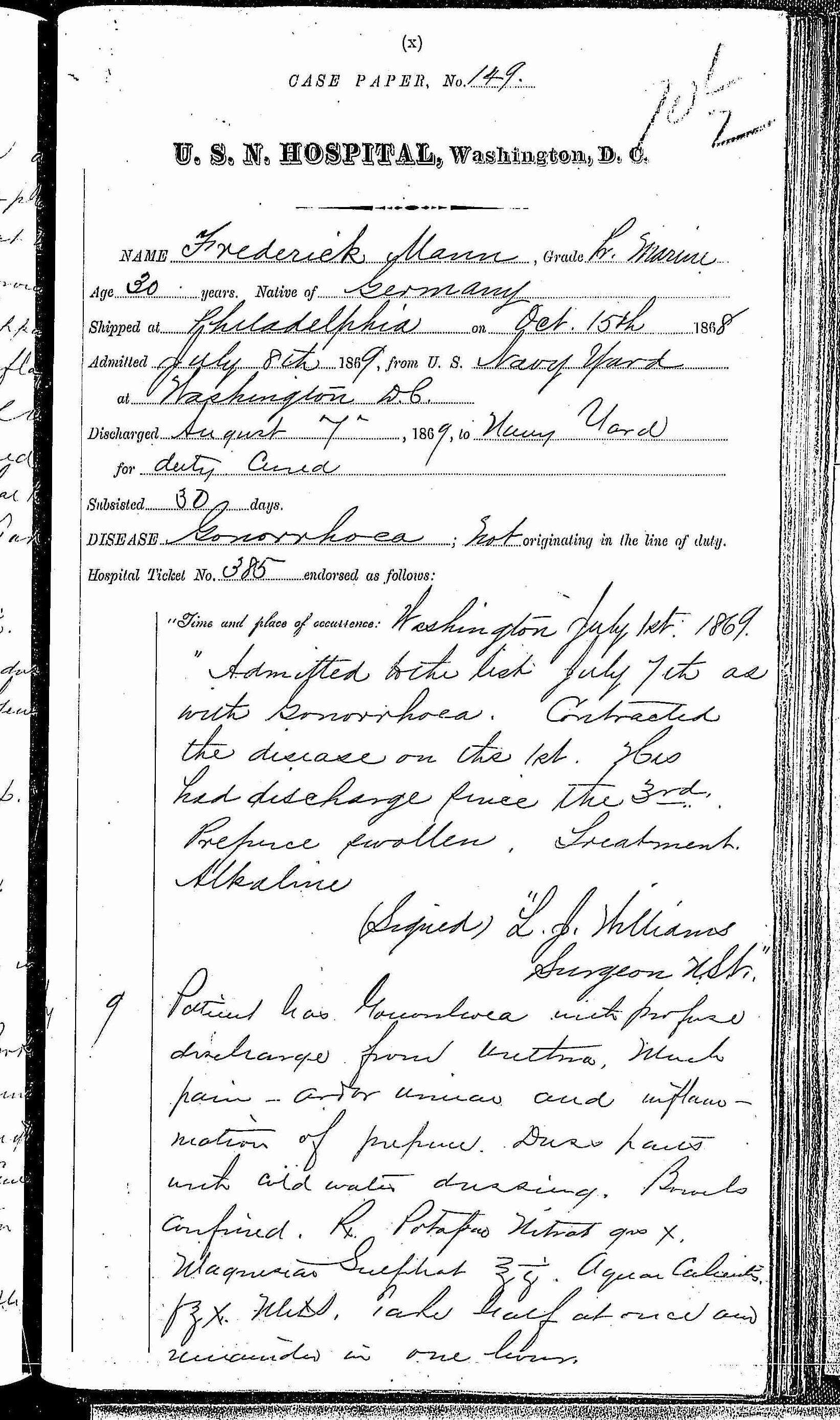 Entry for Frederick Mann (second admission page 1 of 3) in the log Hospital Tickets and Case Papers - Naval Hospital - Washington, D.C. - 1868-69