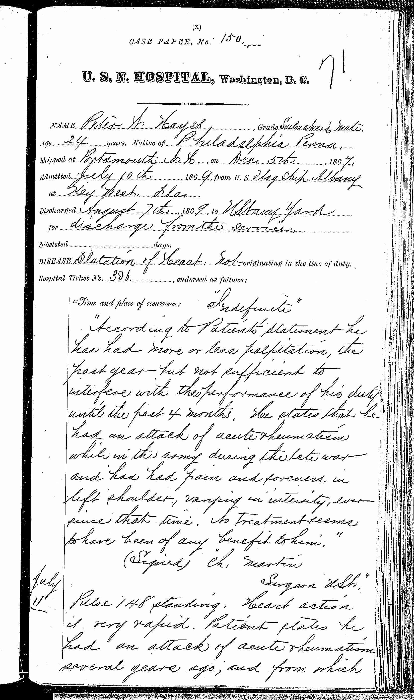 Entry for Peter W. Hayes (page 1 of 4) in the log Hospital Tickets and Case Papers - Naval Hospital - Washington, D.C. - 1868-69