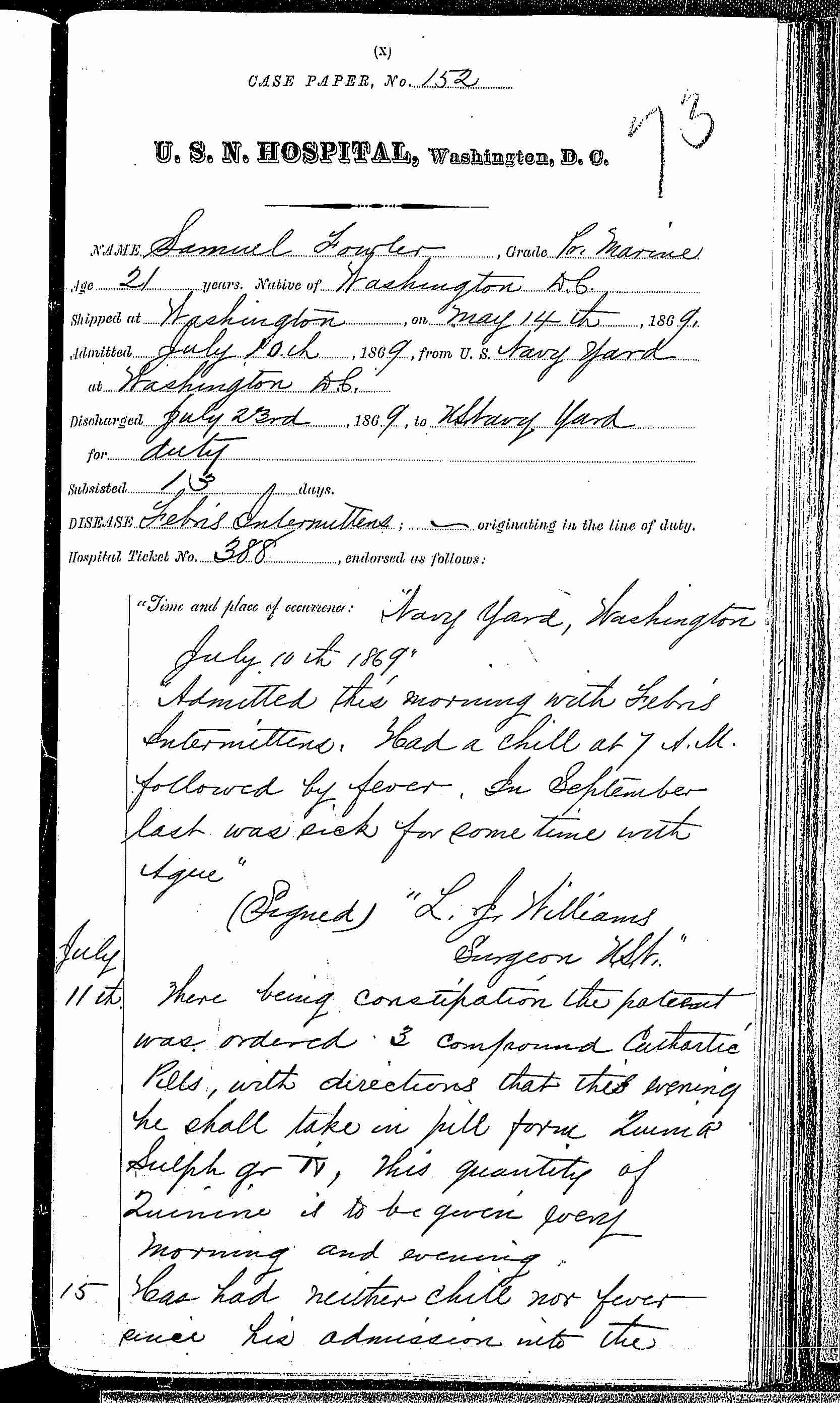 Entry for Samuel Fowler (page 1 of 2) in the log Hospital Tickets and Case Papers - Naval Hospital - Washington, D.C. - 1868-69