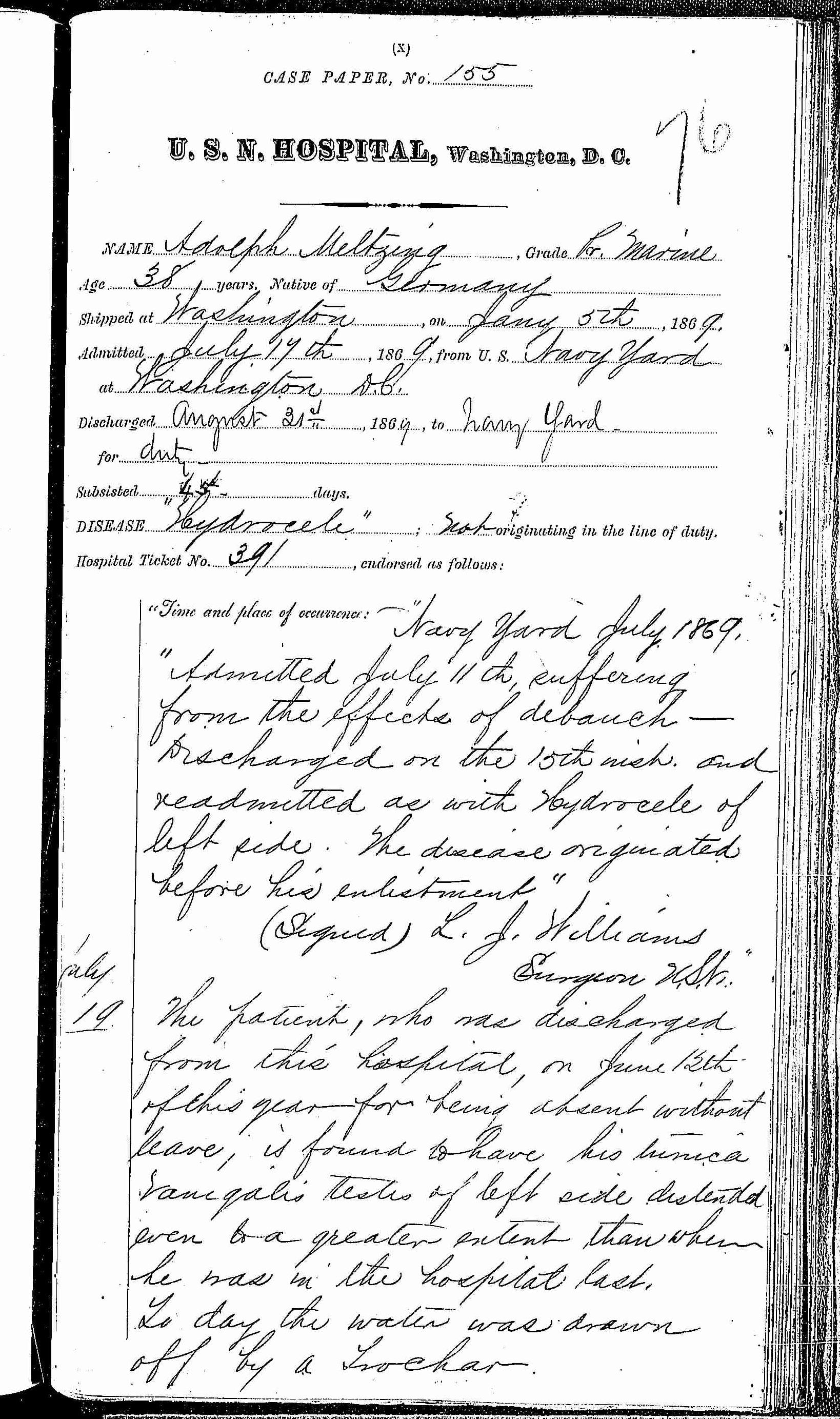 Entry for Adolph Meltzing (second admission page 1 of 4) in the log Hospital Tickets and Case Papers - Naval Hospital - Washington, D.C. - 1868-69