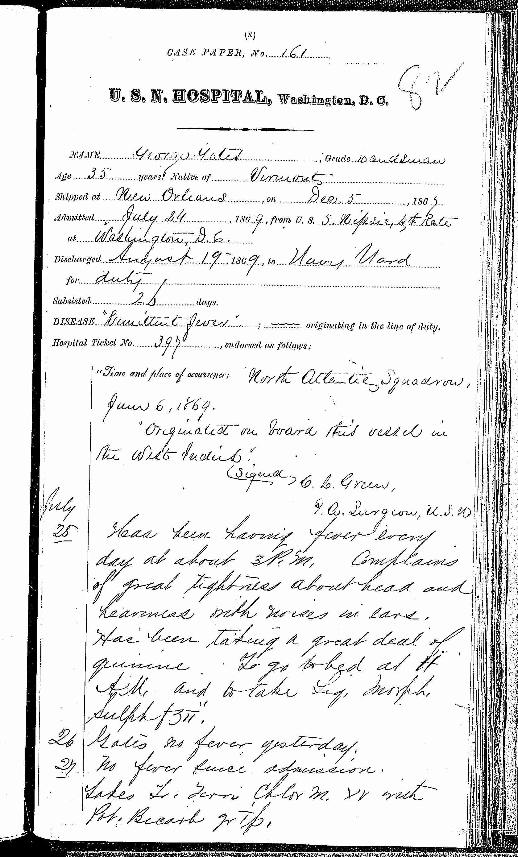 Entry for George Gates (page 1 of 2) in the log Hospital Tickets and Case Papers - Naval Hospital - Washington, D.C. - 1868-69