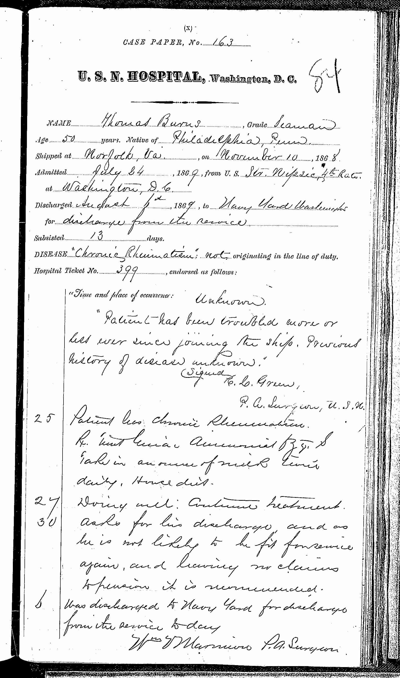 Entry for Thomas Burns (page 1 of 1) in the log Hospital Tickets and Case Papers - Naval Hospital - Washington, D.C. - 1868-69