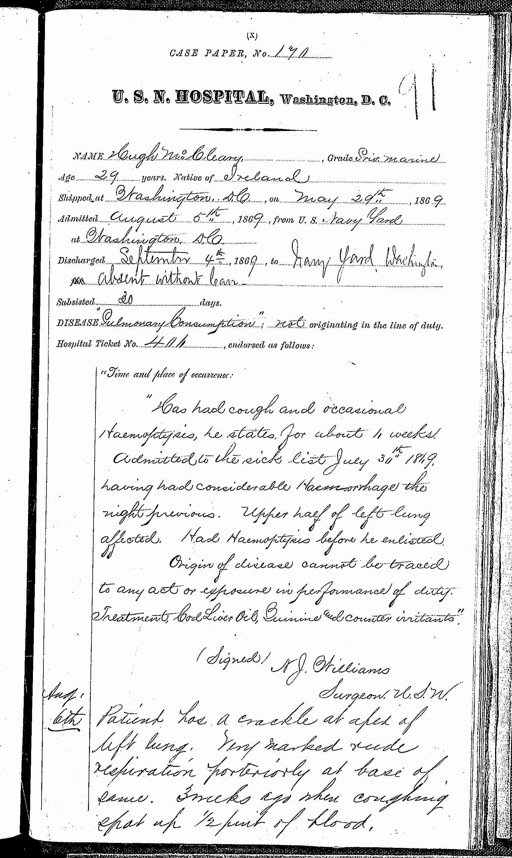 Entry for Hugh McCleary (page 1 of 4) in the log Hospital Tickets and Case Papers - Naval Hospital - Washington, D.C. - 1868-69