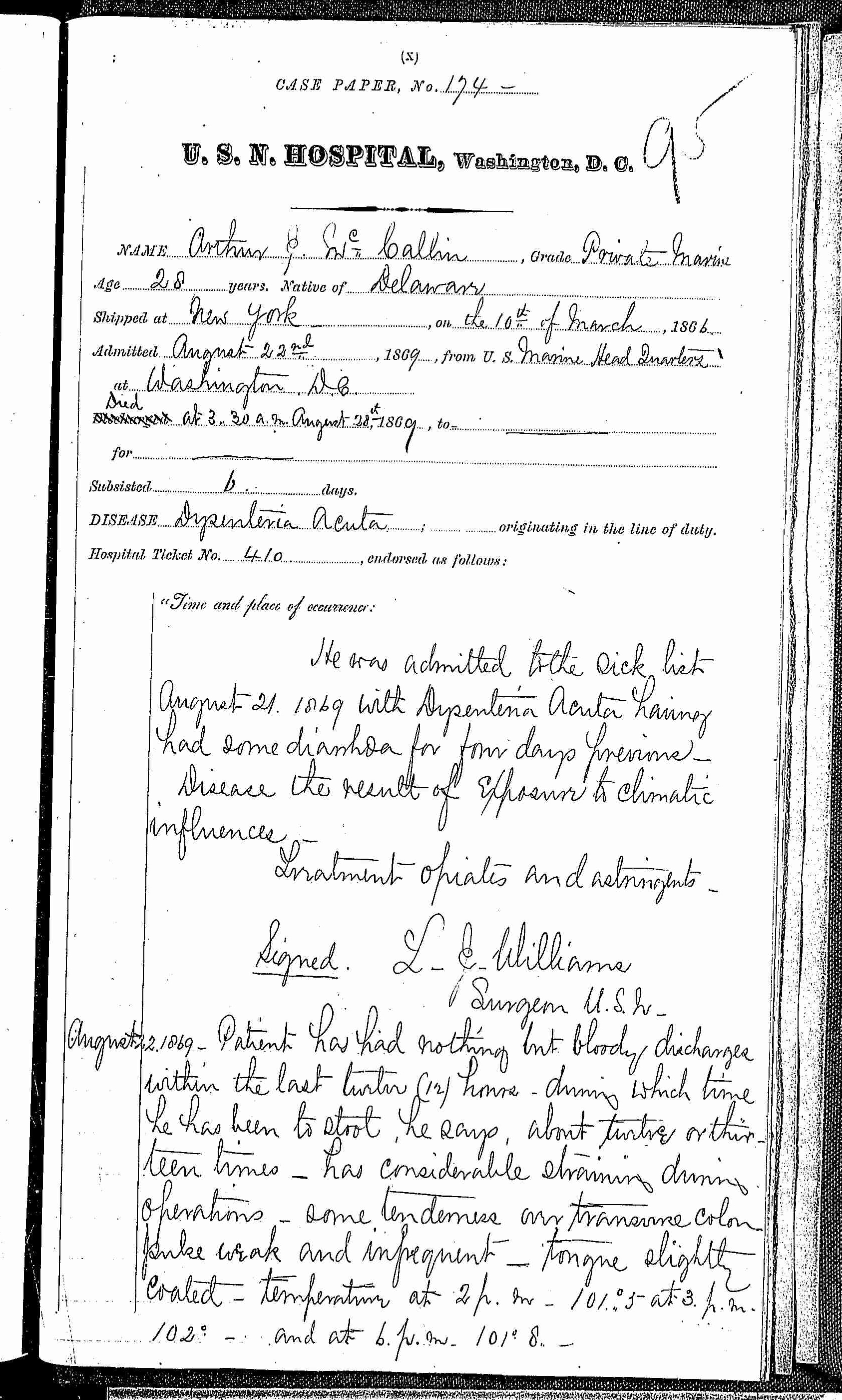 Entry for Arthur J. McCallan (page 1 of 5) in the log Hospital Tickets and Case Papers - Naval Hospital - Washington, D.C. - 1868-69