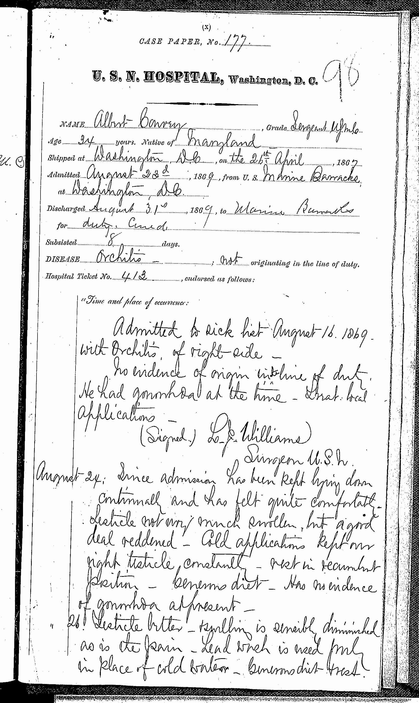 Entry for Albert Carney (page 1 of 1) in the log Hospital Tickets and Case Papers - Naval Hospital - Washington, D.C. - 1868-69