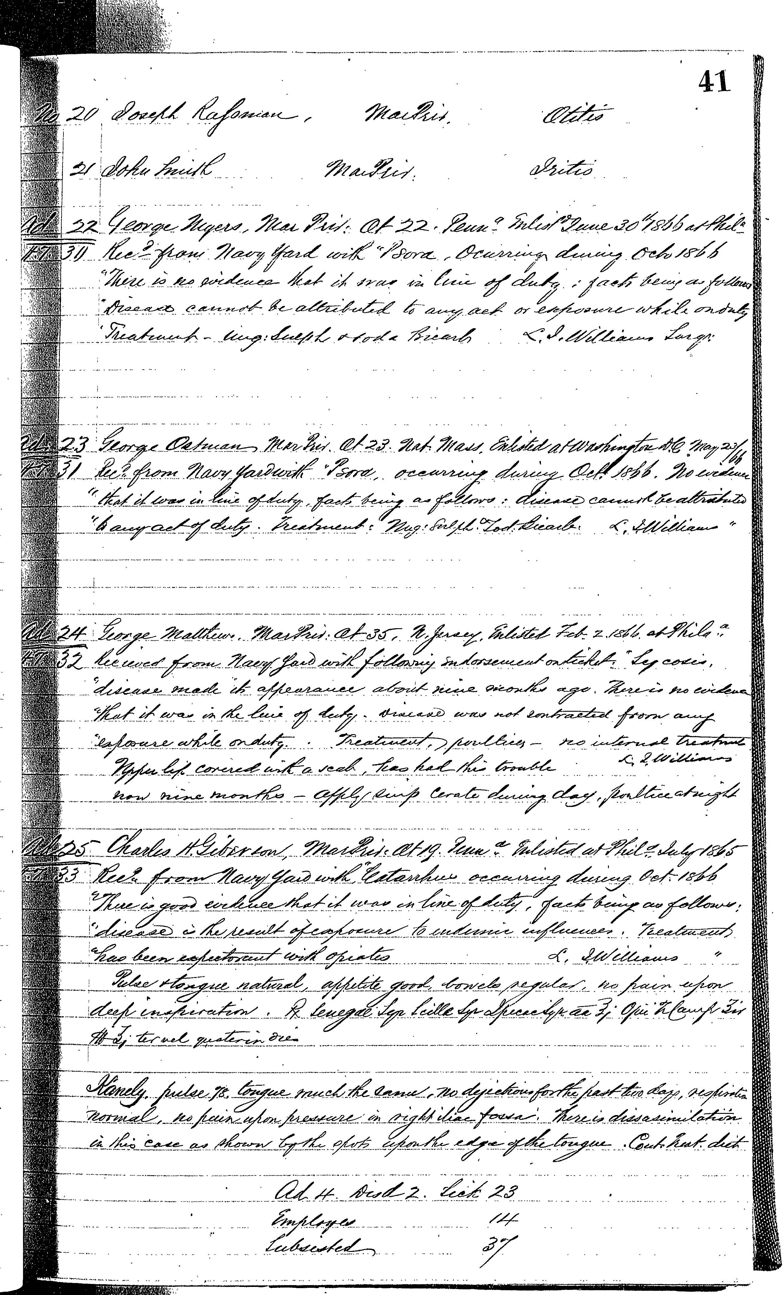 Patients in the Naval Hospital, Washington DC, on October 30, 1866, page 2 of 2, in the Medical Journal, October 1, 1866 to March 20, 1867