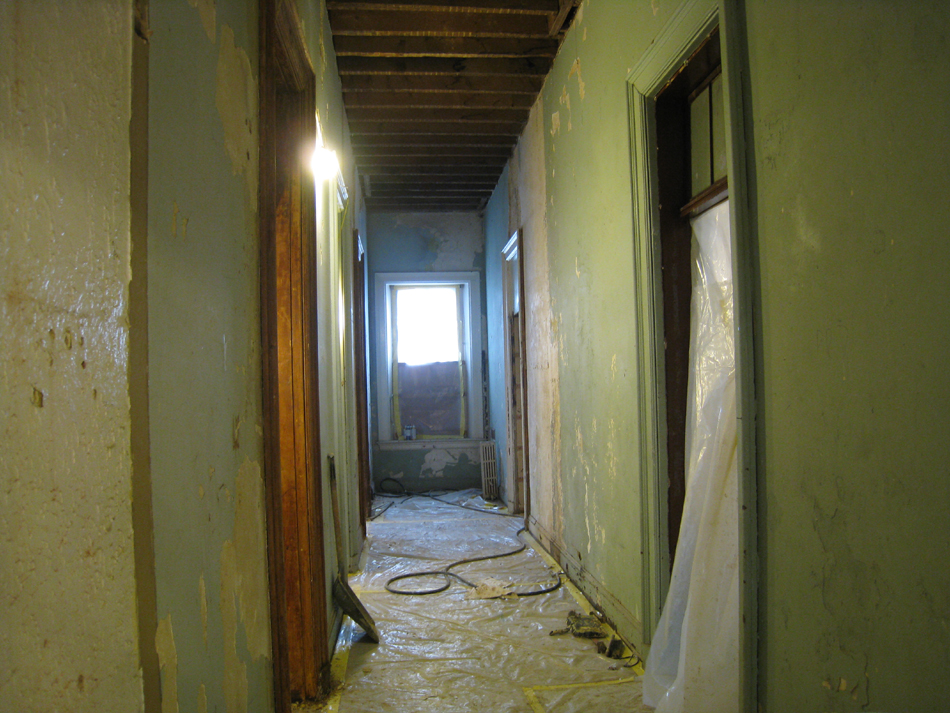 First Floor Looking West in Main Corridor (Proposed Elevator Opening on Right) - August 3, 2010