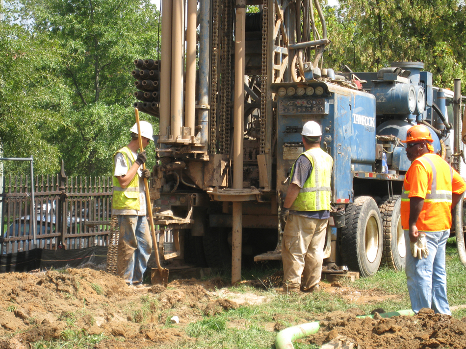 Geothermal drilling for HVAC systems on northwest corner,  Wells to go down about 350 feet