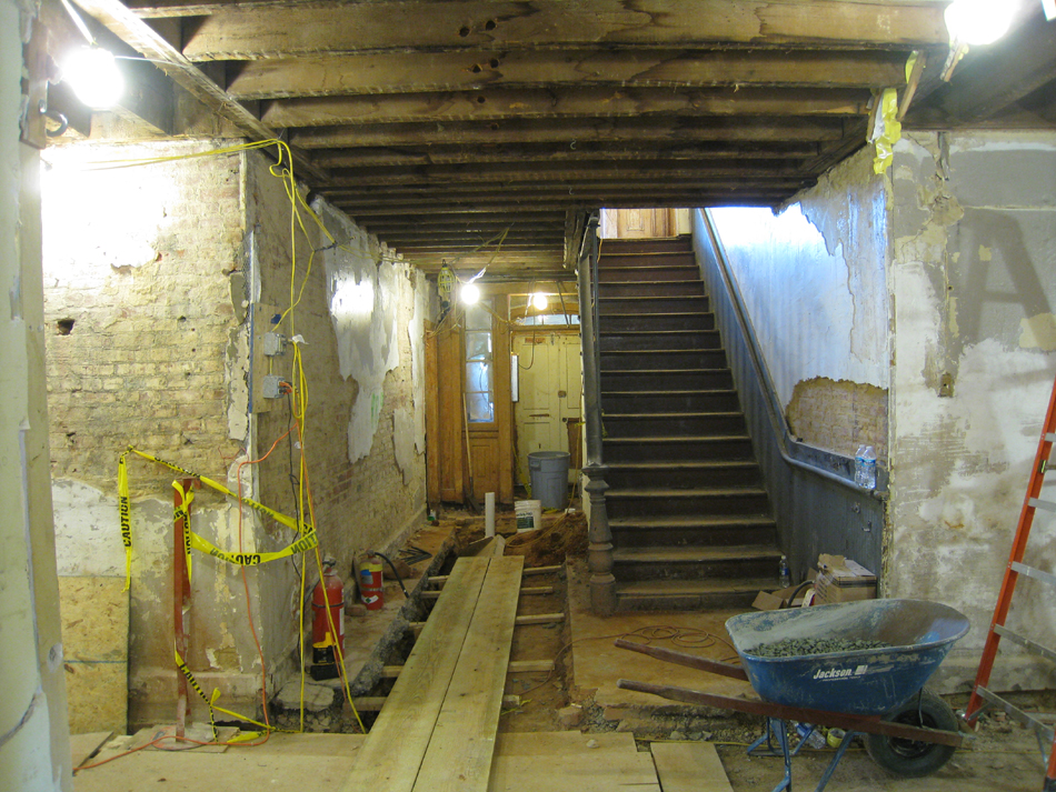 Ground Floor - stair looking to north doorway - September 8, 2010