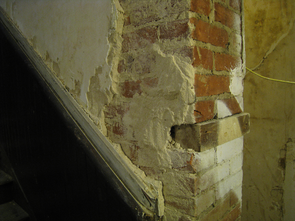 Second Floor - Brick Plaster and Wood Detail Next to Stairwell (East) - September 8, 2010