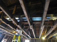 Third Floor - Installing Sheet Metal Ducts in East Room - September 8, 2010