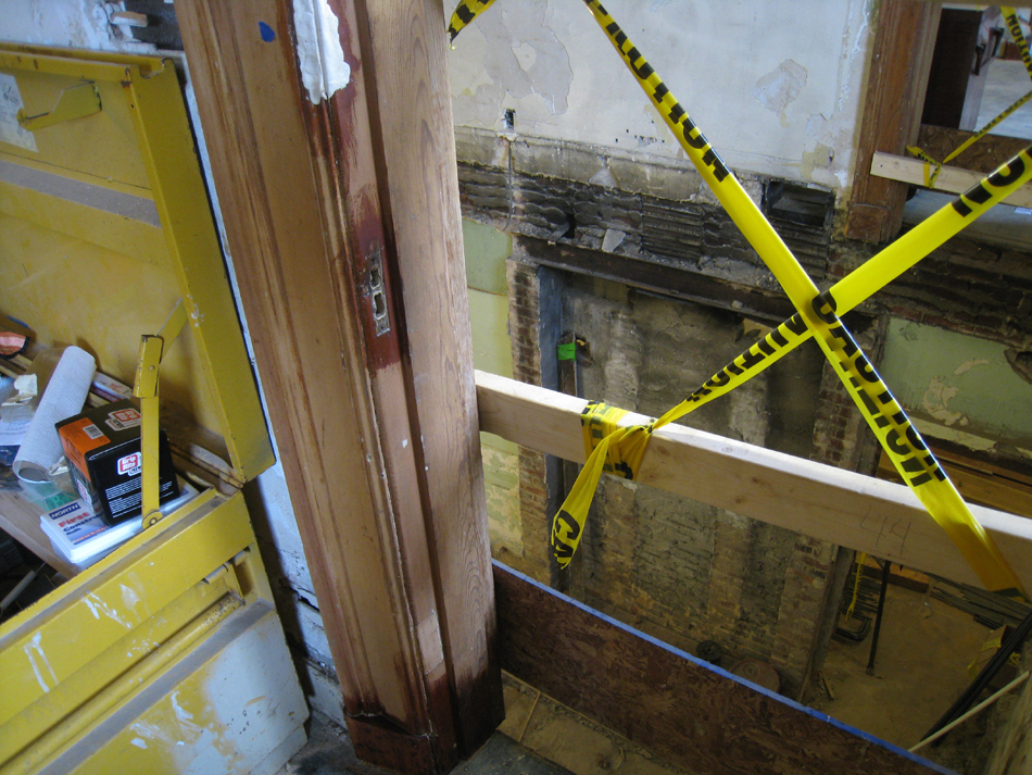 First Floor - Southwest Corner at Staircase Detail of Door Frame After Sanding