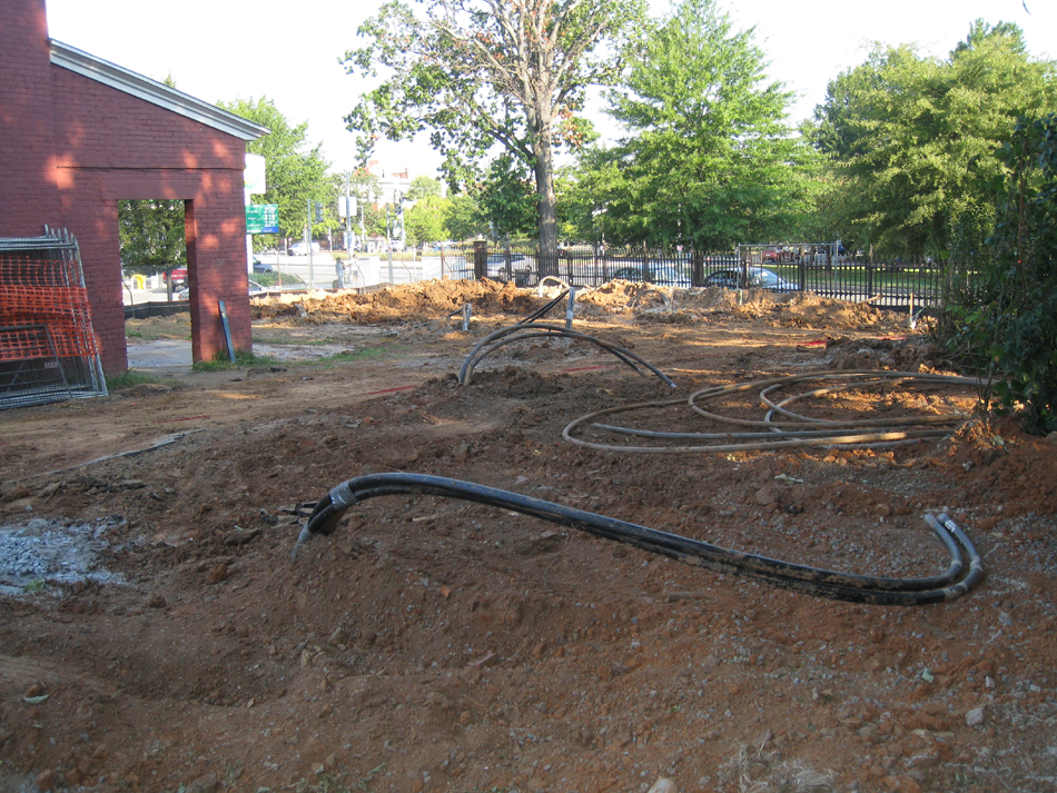 Geothermal/HVAC--Pipes sunk into 350 foot well in northwest corner