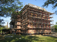 Elevation--East side with scaffolding - September 22, 2010
