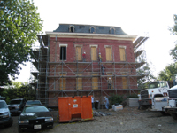 Elevation--West side, installing scaffolding - September 22, 2010