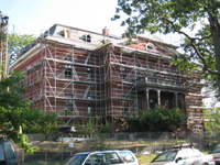 Elevation--South entrance, showing scaffold span over portico - September 22, 2010