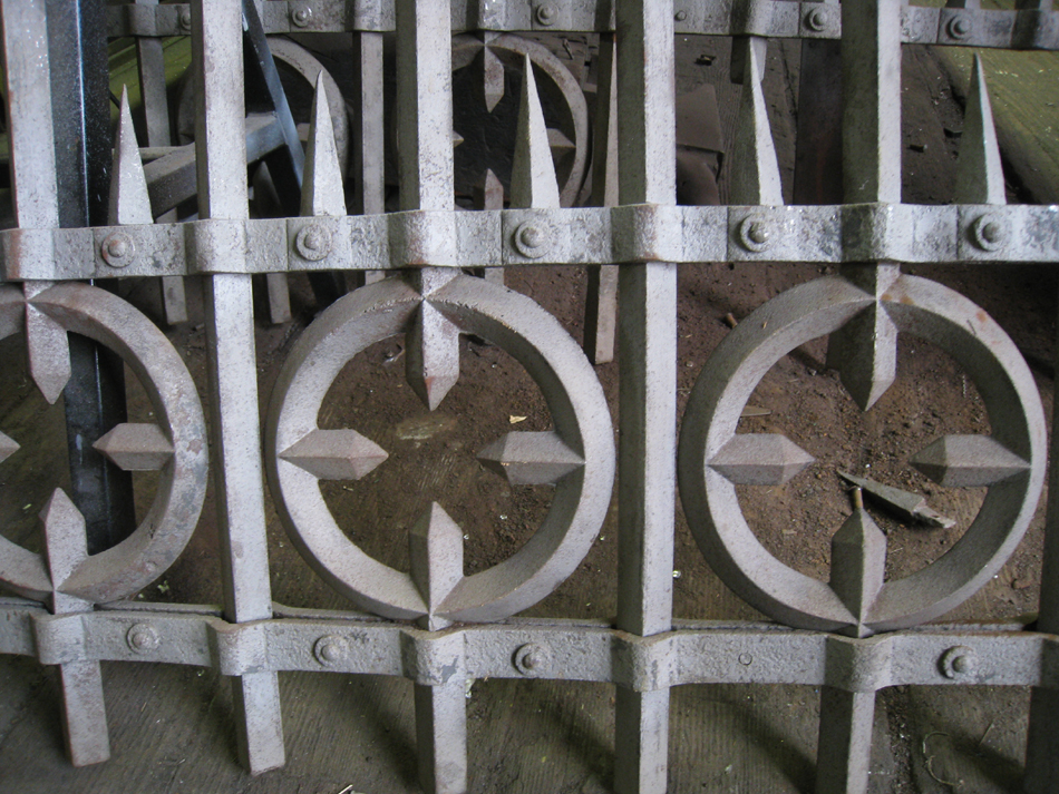 Fence - at G. Krug and Sons - detail of circles and spears after sandblasting.