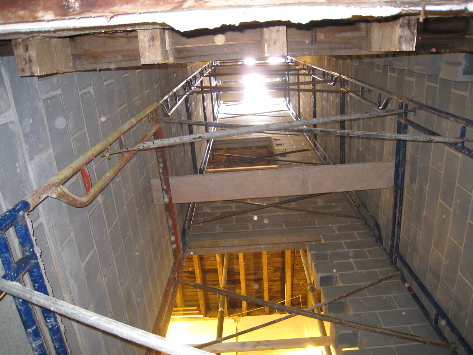 Ground Floor--Elevator shaft looking up