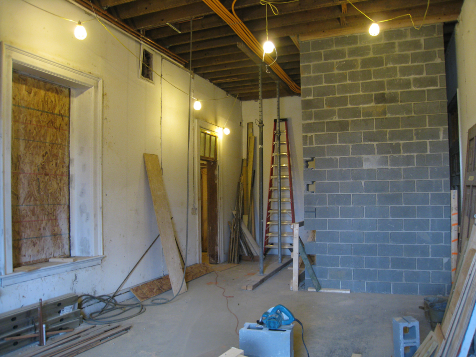 First Floor--North west room with elevator shaft