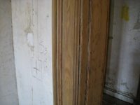 Second Floor--Detail of sanded door frame - October 11, 2010