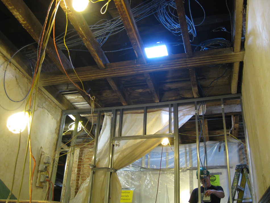 Third Floor--Electrical work and opening through to Widow's walk (from original staircase)