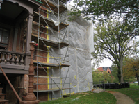 Elevation - South east corner during exterior paint removal by ice crystals blasting - October 19, 2010