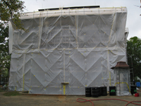 Elevation--East side during exterior paint removal by ice crystals blasting - October 19, 2010