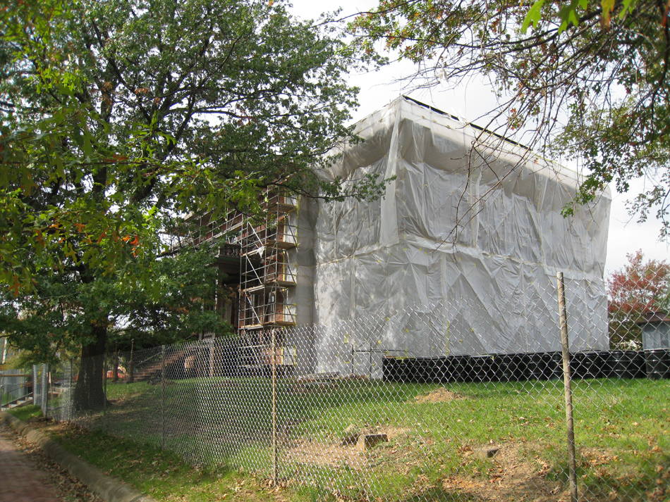 Elevation--Southeast corner during exterior paint removal by ice crystals blasting