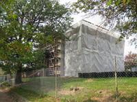 Elevation--Southeast corner during exterior paint removal by ice crystals blasting - October 19, 2010