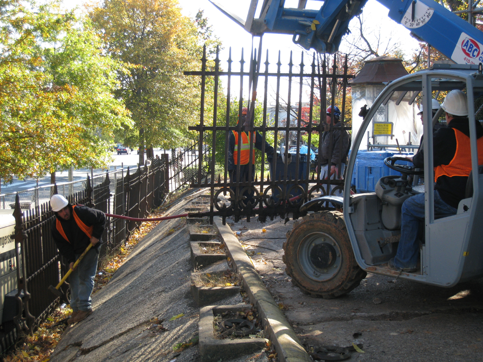 Fence--Removing fence section from Pennsylvania Ave. side for restoration