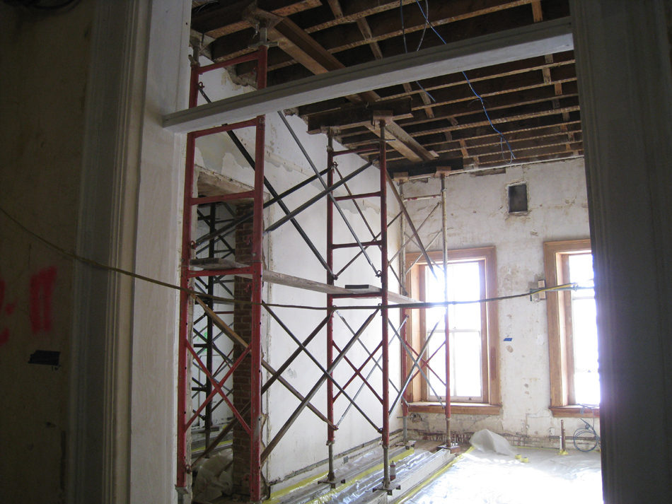 Second Floor--Shoring next to wall to be removed on west side