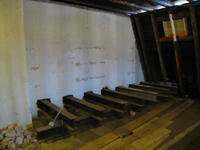 Third Floor--Shoring on west side for wall to be removed on second floor - October 29, 2010