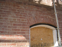 Elevation--Detail of south wall after exterior paint removal - October 29, 2010