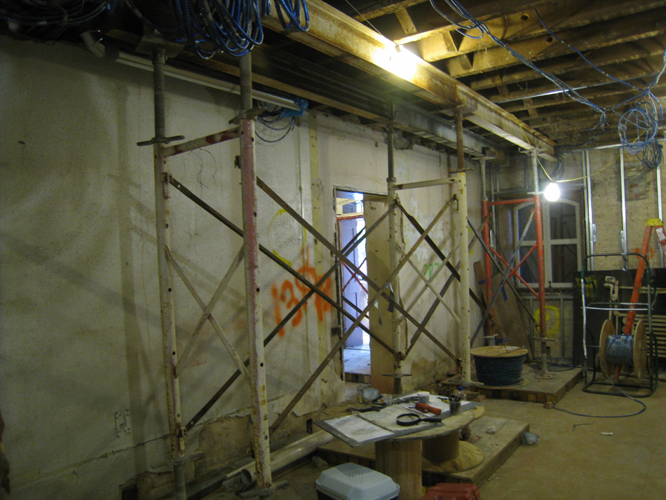 Ground Floor--Shoring in west central room for wall to be removed on second floor