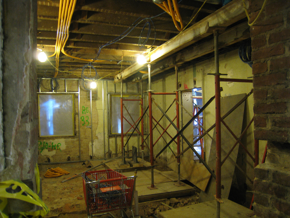 Ground Floor--Shoring in east central room for wall to be removed on second floor