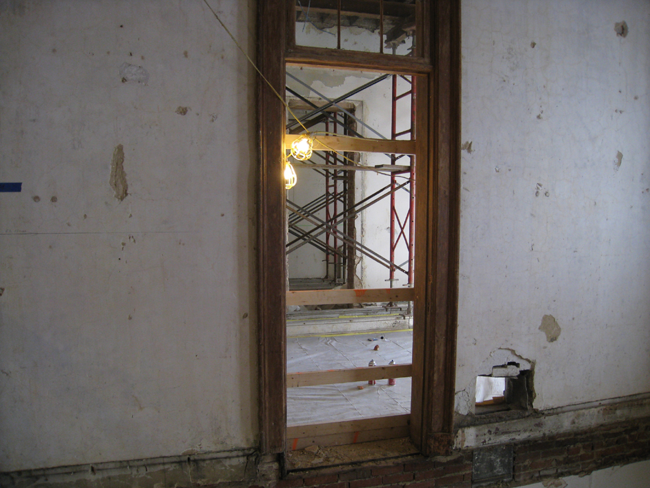 Second Floor--Shoring for walls to be removed from entrance to west stairwell