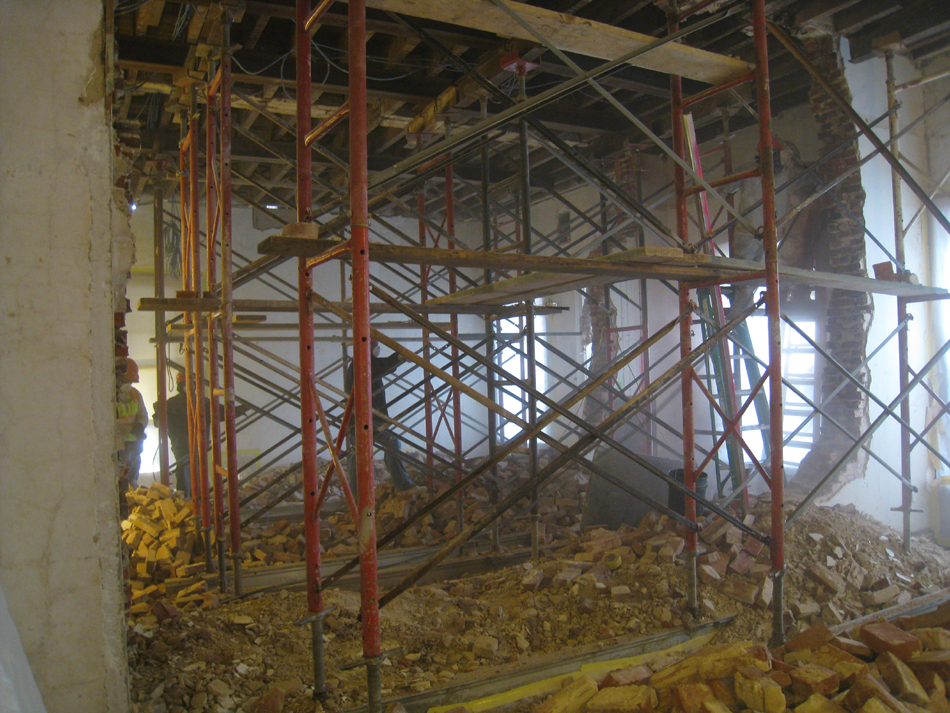 Second Floor--Demolition of the two central walls (from west side).