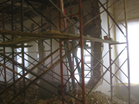 Second Floor--Detail--Demolition of the two central walls (from west side) - November 3, 2010