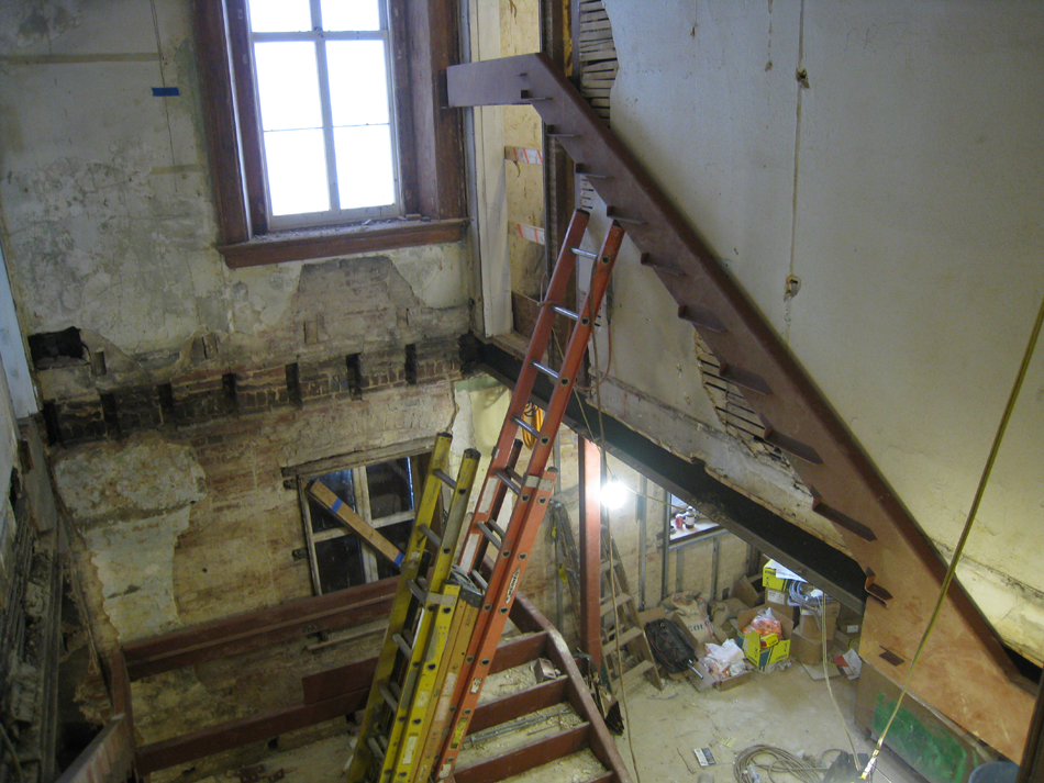 Second Floor--Installation of stairs in west stairwell