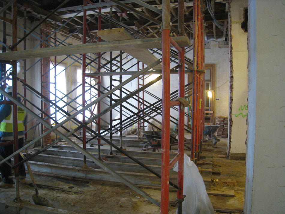 Second Floor--Center south room, looking west.  Newly opened room.  Two walls demolished