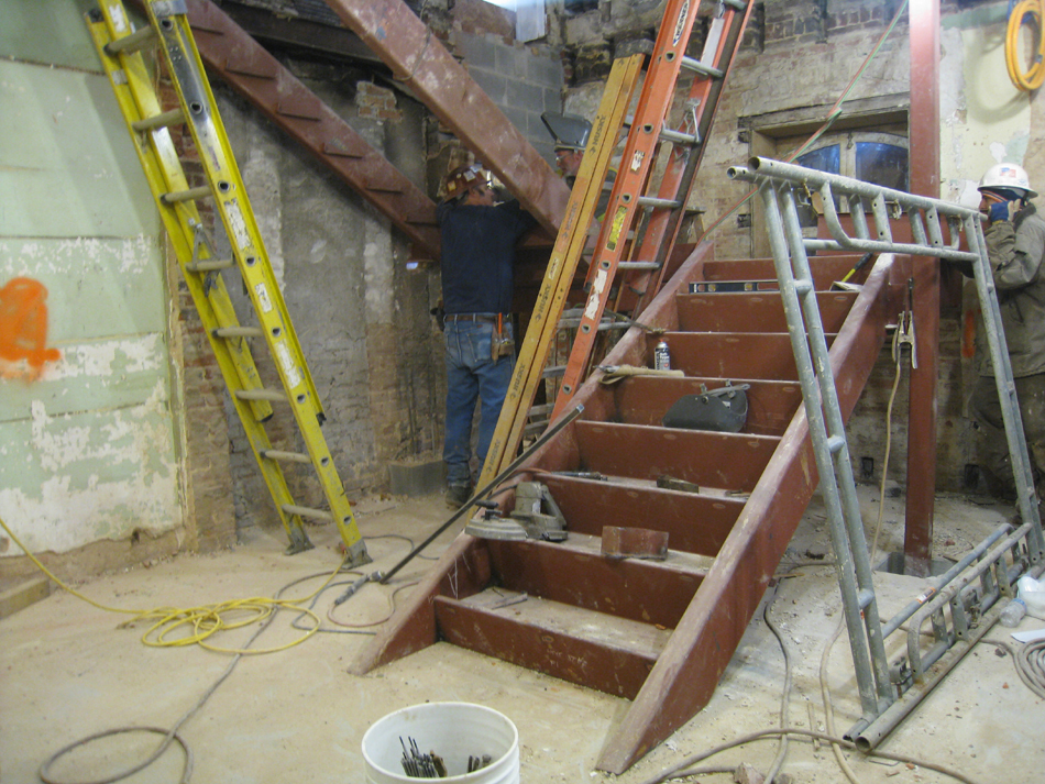 Basement--West stair construction