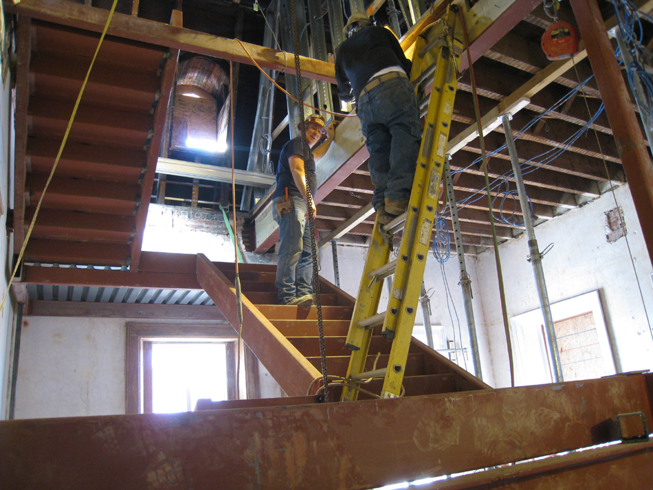 Second Floor--West staircase installation