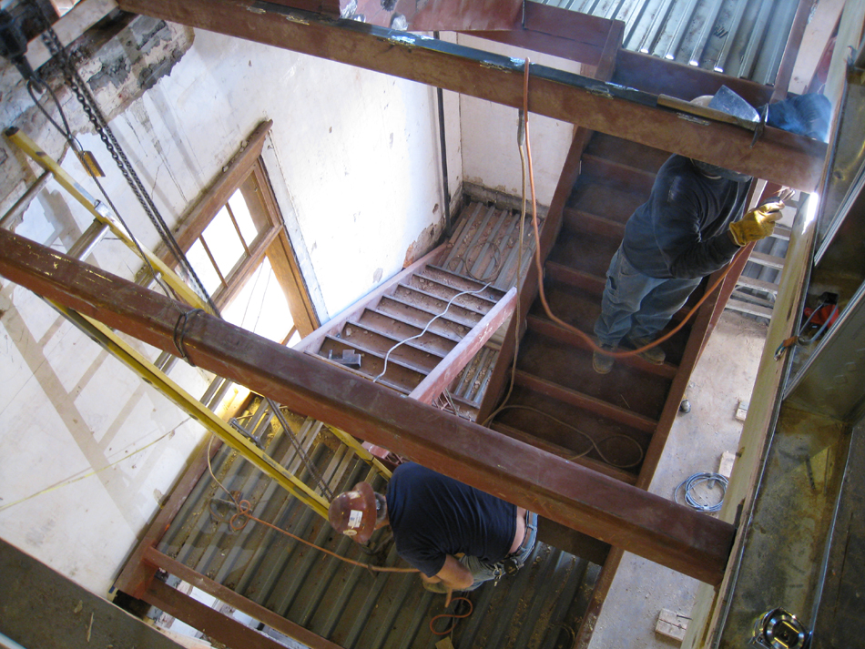 Third Floor--West staircase installation (looking down)