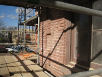 Elevation--South side just west of main door, showing mortar preparation - November 17, 2010