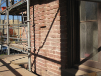Elevation--Detail of the preparation for mortar repointing (First Floor south just west of main door) - November 19, 2010