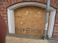 Elevation--Ground floor window on east side detail after restoration and priming - December 2, 2010