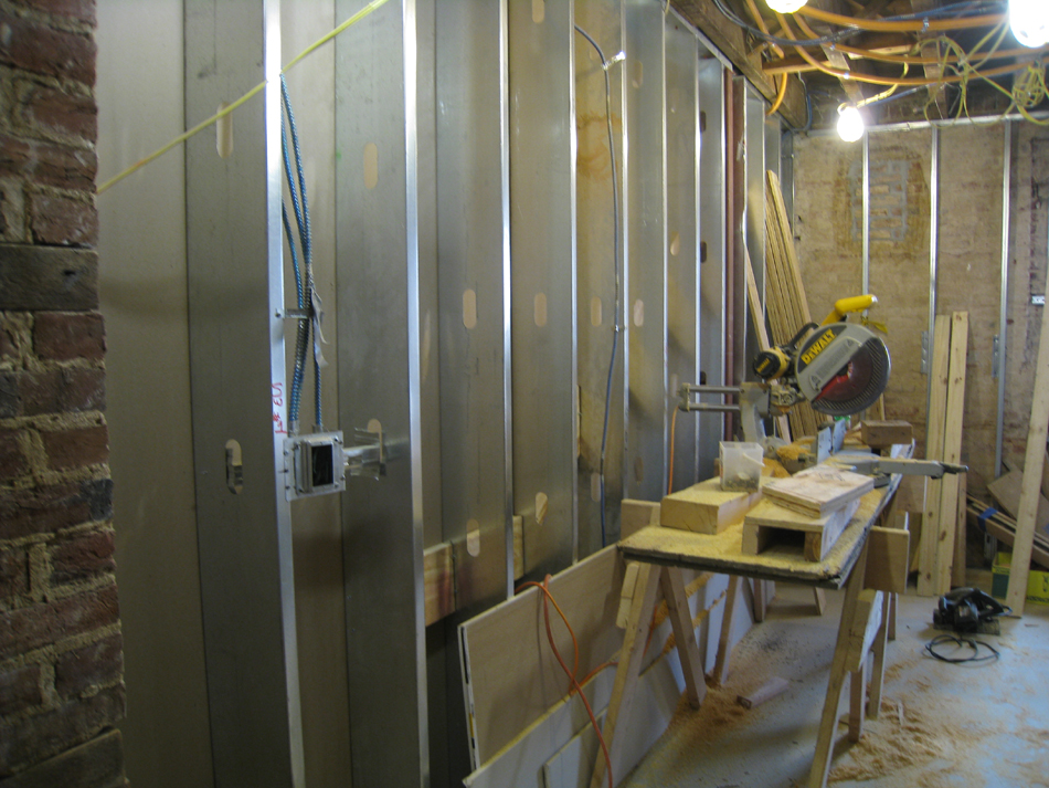 Ground Floor--Walls and electric in south west room - December 28, 2011