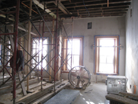 Second Floor--Central (large) room showing brown plaster and column preparation - December 28, 2010